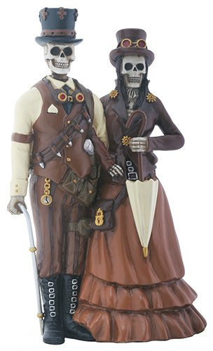 [Skeleton Bones Steampunk Outfitted Couple Decorative Figurine] (Steampunk Decorations)