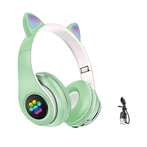 Kids Headphones,Cat Ear Wireless Gaming Headset,Foldable LED Light Up Bluetooth Over Ear Headphones,Volume Limiting,FM…