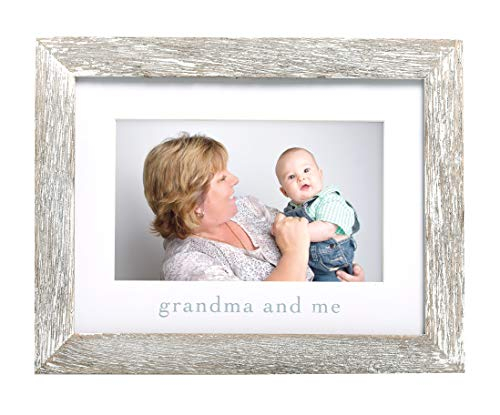 Pearhead Grandma & Me Keepsake Rustic Picture Frame, New Grandpa Gifts from Baby, Distressed
