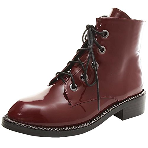 AIYOUMEI Damen Lack Flach Stiefeletten mit Schnürung Schnürstiefeletten Ankle Boots Schuhe Weinrot