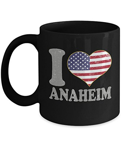 Anaheim Ceramic Mug Set (Anaheim California Coffee Mug - 11oz Black Ceramic Tea Cup. Retro Country Flag Pride Novelty Holiday Christmas Gift. Set of 1.)