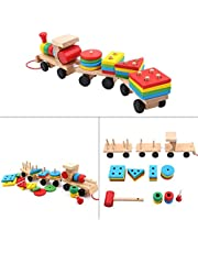 Baby Kids Wooden Puzzle Train Toy Wooden Train Toddler Toys Shape Sorter and Stacking Wooden Blocks Sorting Stacking Learning Game