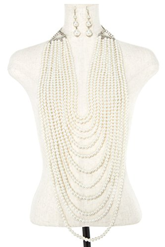 Karmas Canvas Multi Strand Faux Pearl Oblong Necklace Set (Honora Set Necklace)
