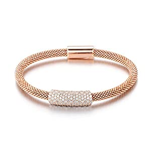 Sterling Silver 14K Gold Plated Rose Yellow Black Rhodium 4.5mm CZ Italian Mesh Magnet Bangle Bracelet, Rose
