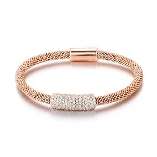 Sterling Silver 14K Gold Plated Rose Yellow Black Rhodium 4.5mm CZ Italian Mesh Magnet Bangle Bracelet, Rose - Mesh Rose Bracelet
