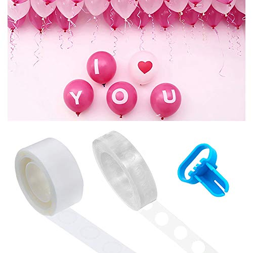 Kalolary Balloon Arch Garland Decorating Strip Kit - 50 Ft Reusable Balloon Tape Strip, 100 Removable Glue Sticky Dots, Tying Tool, Supplies Balloon Time Birthday, Part, Wedding, Events -