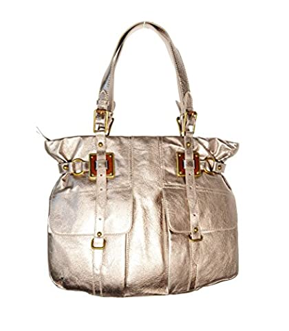 Elliott Lucca Girona Leather Pyrite Metallic largeTote Bag Shoulder Bag - Elliott Lucca Leather Shoulder Bag