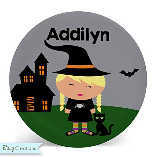 Personalized Halloween Witch Plate for Kids ()