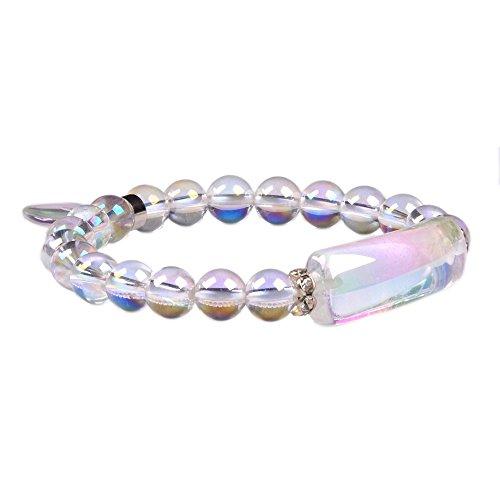 Aqua Aura Clear Quartz Gem Semi Precious Gemstone Love Heart Charm Stretch Bracelet -