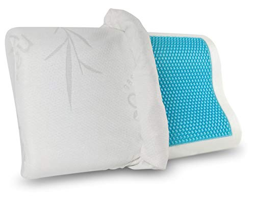Gel Memory Foam Pillow - Comfortable Cooling Pillow Neck Pain - Cervical Support Pillow Back Stomach Side Sleepers - Orthopedic Sleeping Pillow for Women Kids + Free Bamboo Cover 20X12 inch
