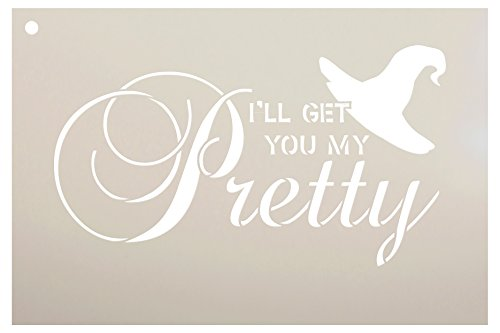 I'll Get You My Pretty - Broom & Hat Stencil by StudioR12 | Reusable Mylar Template | Use to Paint Wood Signs - Pallets - DIY Halloween Decor - Holiday - Select Size (9
