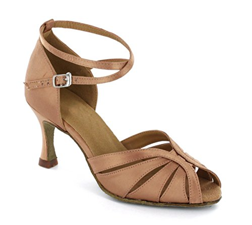 Minitoo Women's Ankle Strap Cut-out Flared Heel Modern Dance Shoes Comfortable Sandals Bronze