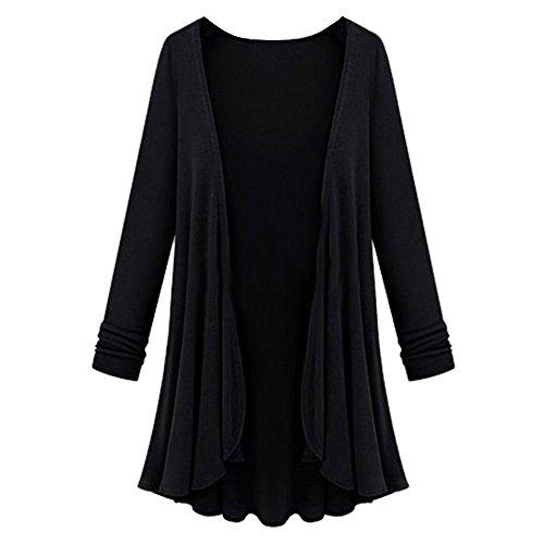 de moda abrigo de Abrigo para Blusa de túnica Negro larga Cinnamou Chaquetas Ropa de manga de Mujer de de cardigan mujer IwxqUF7