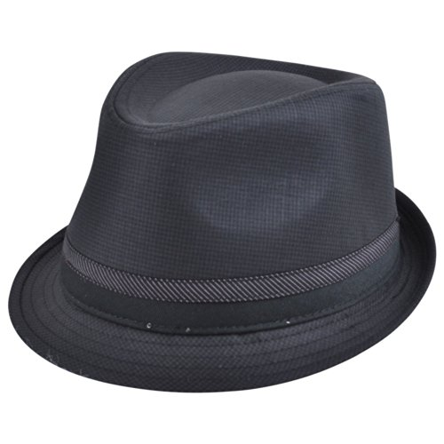 [Explicit Fedora Gangster Diamond Top Small Medium Pimp Hat Trilby Patterned Blk] (Pimp Hat With Feather)