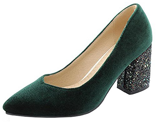 Velvet Sequined Block High Heels Low Cut Pointed Toe Slip on Pumps Shoes (Green, 7 B(M) US) ()