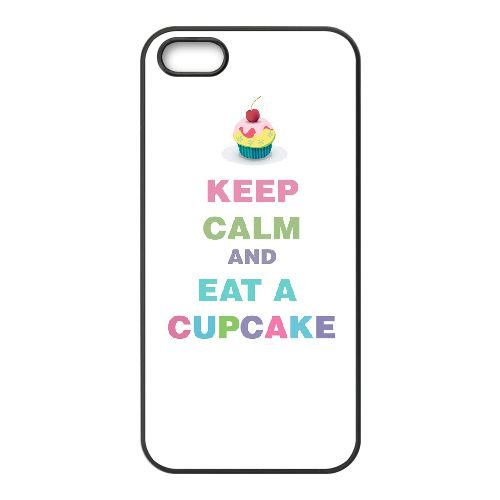 Keep Calm Eat A Cupcake 007 coque iPhone 5 5S cellulaire cas coque de téléphone cas téléphone cellulaire noir couvercle EOKXLLNCD25233