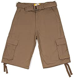 North 15 Men's Belted Crafted Cargo Pockets Twill Cotton Size 34 Mint Shorts
