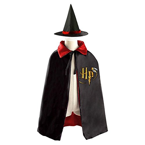DBT Harry Potter HP Logo Childrens' Halloween Costume Wizard Witch Cloak Cape Robe and Hat
