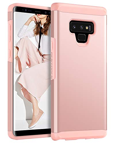 Galaxy Note 9 Case,BENTOBEN 2 in 1 Dual Layer Slim Heavy Duty Rugged Hybrid Soft TPU Bumper Hard PC Cover Shockproof Anti-Slip Protective Samsung Galaxy Note 9 Phone Case for Women and Girls,Rose Gold