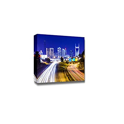 Canvas Prints Wall Art - Nashville, Tennessee, USA Downtown Skyline and Highway at Night | Modern Wall Decor/Home Art Stretched Gallery Canvas Wraps Giclee Print & Ready to Hang - 16
