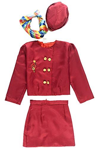 NEWCOS Kid's Flight Attendant Costume Set for Girls Halloween Cosplay Costumes with Jacket, skirt, scarf, hat -