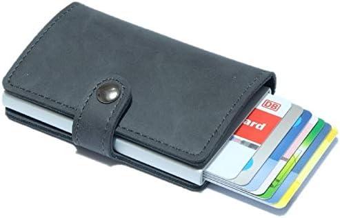 BORZ Prime Maximus Kreditkartenetui Mini Wallet mit M/ünzfach Kartenhalter I Slim Wallet Geldb/örse I RFID Schutz I Geldbeutel f/ür Karten /& Scheine Echtes Leder