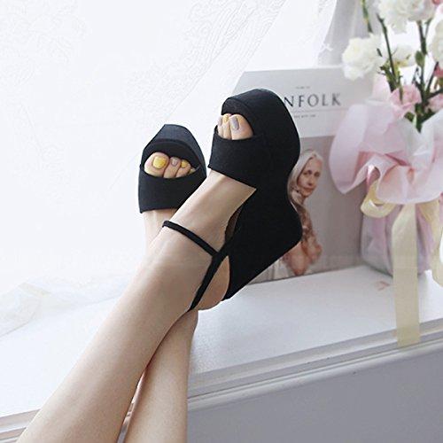 Taiwan High Heels Femme Des Bas Piste Mot Ceinture SHOESHAOGE Boucle Noire Bouche Poisson unie Épais Couleur Un Imperméable D'Été Sandales Avec vaffTqUP