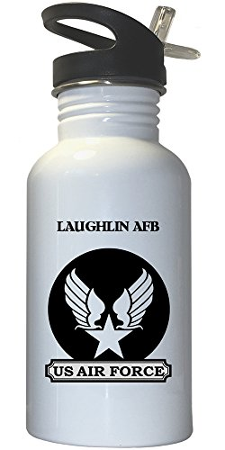 Laughlin AFB - US Air Force White Stainless Steel Water Bottle Straw Top, - Images Laughlin