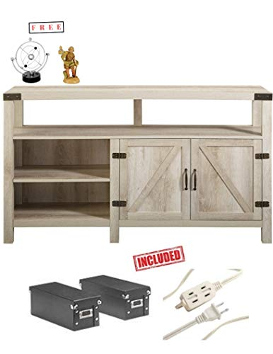 Home Accent Furnishings New 58 Inch Wide Barndoor Highboy Television Stand in White Oak Finish with Free