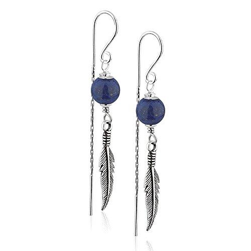 925 Sterling Silver Single Blue Lapis Lazuli Gemstone Bead & Feather Dangle Bar Threader Earrings