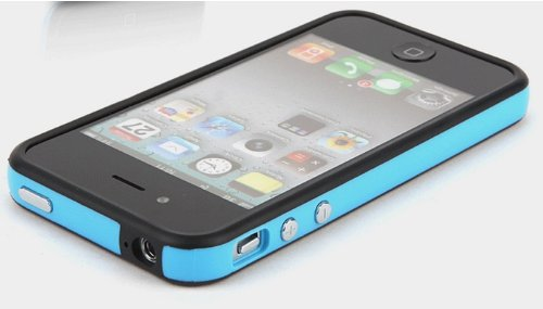 Blue and Black Premium Bumper Case for Apple iPhone 4S / 4 - (AT&T, Verizon, Sprint) (4g Bumper)