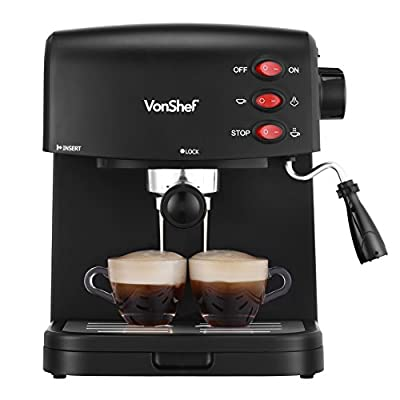 VonShef 15 Bar Pump Espresso Coffee Maker Machine - Create Espressos, Lattes, Cappuccinos & More! from Designer Habitat Ltd.