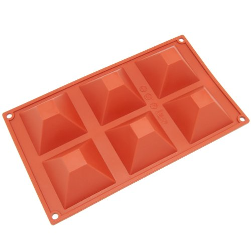 Freshware SL-101RD 6-Cavity Pyramid Shape Silicone Mold for Soap, Cake, Bread, Cupcake, Cheesecake, Cornbread, Muffin, Brownie, and More (Pyramid Silicone Mold)