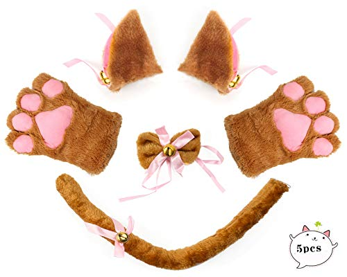 Beelittle Cat Cosplay Costume Kitten Ears Tail Collar Paws 5 Pack (Brown1) ()