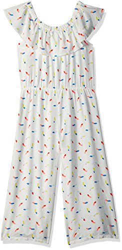 Crazy 8 Little Girls' Off Shoulder Woven Romper, White/Multi Print, 8 by Crazy 8