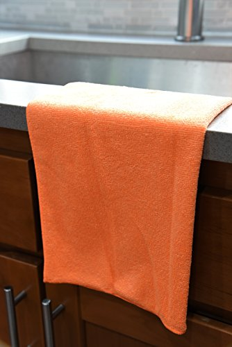 DRI Professional Extra-Thick Microfiber Cleaning Cloth - 16 in x 16 in - 72 Pack (Orange) - Ultra-Absorbent, Quick Drying, Chemical-Free Cleaning by DRI (Image #4)