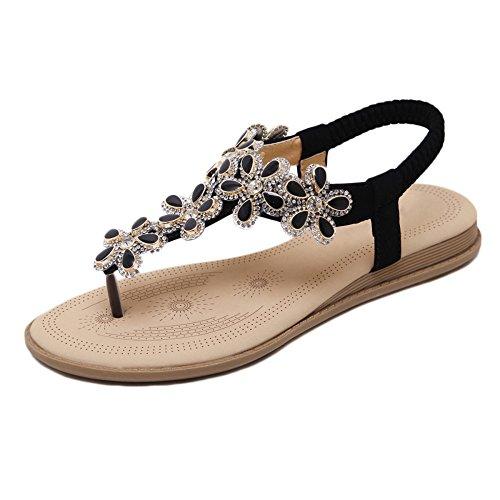 Clip Black Summer Bohemia Sandals Beach Sandalias Toe De Flats Boho HGDR Ladies Mujer Rhinestone Sandalias Zapatos TqYtZt