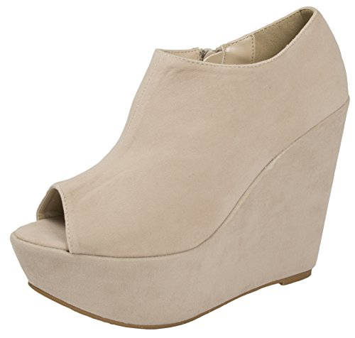 Lora Dora Womens Peeptoe Ankle Boots Ladies Wedge High Heels Faux Suede Party Wedges Size UK 3-8 Nude