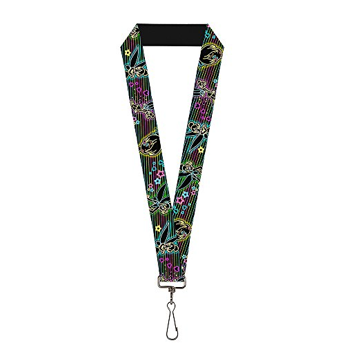 Buckle Down Unisex-Adult's Lanyard-1.0-Electric Tinkerbell Poses/Stripes Black/Mult, Multicolor, One-Size