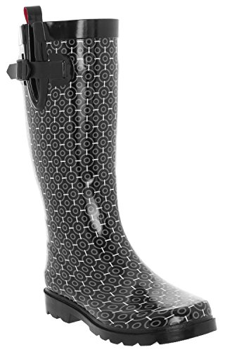 Capelli New York Damer Geometrisk Kontur Tryckt Lång Gummi Regn Boot Black Combo