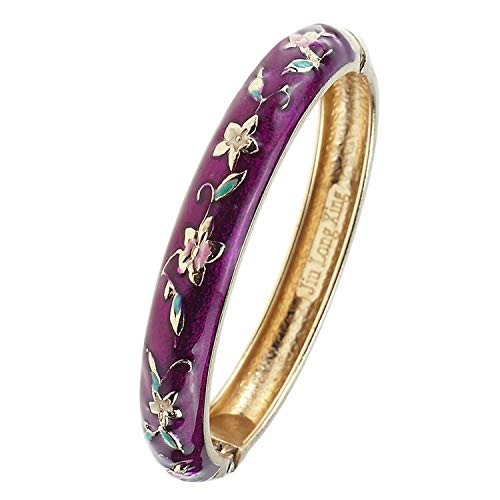 UJOY Fashion Bracelet Colorful Enameled Flower Cuff Bangle Cloisonne Bracelets Jewelry Gift for Women 55A84 Purple
