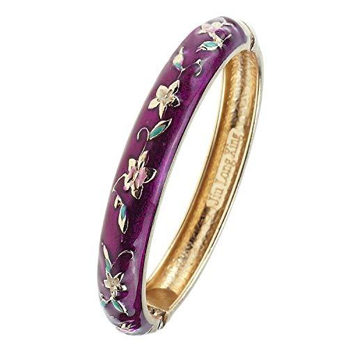 (UJOY Fashion Bracelet Colorful Enameled Flower Cuff Bangle Cloisonne Bracelets Jewelry Gift for Women 55A84 Purple)