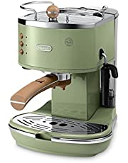De'Longhi Icona Vintage Espresso Siebträgermaschine - mit professioneller Milchaufschäumdüse, 15 bar, 1,4 l, auch für Pads geeignet, Edelstahl in Retro Look mit Chrom-Details
