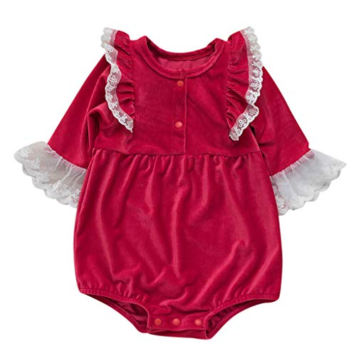 Hopeg Toddler Kids Baby Girls Solid Lace Long Sleeve Romper Bodysuit Clothes 0-24 Months, Infant dollcollar Plush Cotton Princess Costume Jumpsuit