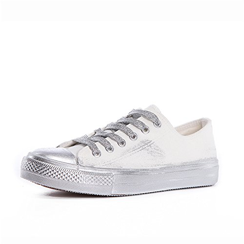 Perfues Canvas up Women Sewing Shoes Shallow Casual White Shoes Sneakers Fashion Women Solid Lace RRBrqda