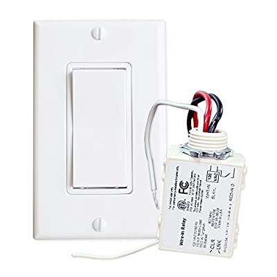 RunLessWire Simple Wireless Switch Kit: Move or add a light switch in any location! Use this Self-Powered Rocker Switch with Controlling Receiver for lights, LED, ceiling fans, fixtures, and other electronics. Switch comes in White.