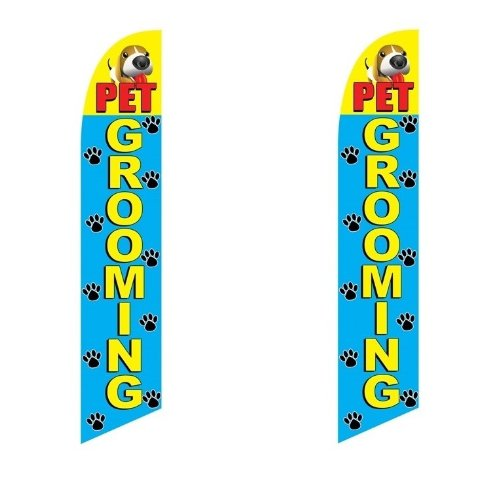 2 (two) Pack Tall Swooper Flags Pet Grooming Paw Prints Puppy Yellow Red (Paw Prints Grooming)