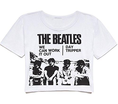 Rock Short Sleeve Tee (Darceil Women's White Short Sleeve Beatles Print T Shirt Tank top (S, Crop top-white))