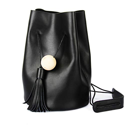 UER Women's Trend Fashion Handcrafted Cow Leather Bucket Should Bag with Tassels Ornament (Black)