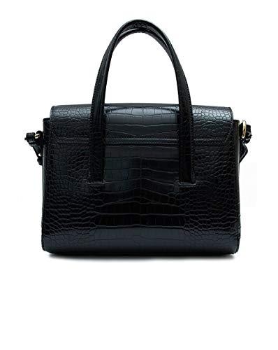 Leather Croc Bag Black Goffrato Nero Armani Tote Emporio Cxw0vPOqx